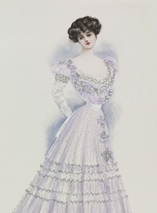 "Lucile was fond of giving her gowns dramatic and descriptive titles. This 1905 evening gown is called ""The Elusive Joy of Youth""!"