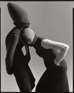 Carmen Kass and Audrey Marnay by Richard Averdon — Hussein Chalayan F/W 98 — New York, May 98