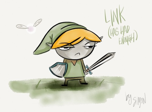 Link has had enough!  Particularly happy with Link's fairy here. This drawing represents my opinion of Navi during Ocarina of Time.