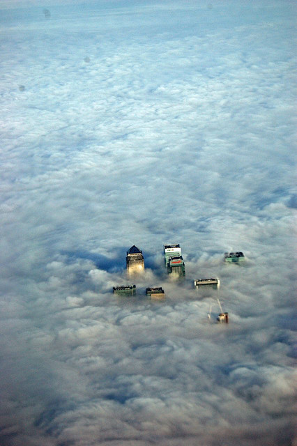 London building tops, Canary Wharf, London, December 23, 2007, by trexcali on flickr