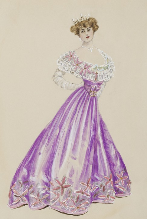 A striking lilac opera gown entitle 'Intention', by Lucile, 1905.