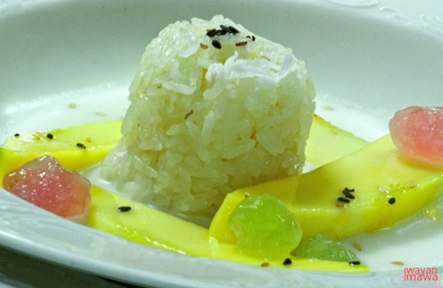 Sticky Rice, Mango, Sago and Coconut Milk It is a 'must try'. Amazing taste and combination of dessert. The sweetness of mangoes merge with the softness of the coconut milk to enrich the sticky rice. No more further comment, until you experience yourself!
