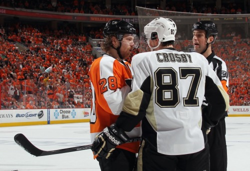 "Is Claude Giroux Philly's Best Athlete in 2012? Yes, it's only April. And yes, the Phillies (despite two masterful performances from Doc Halladay) are off to a bit of a slow start. But since we all have Flyers fever as they battle our cross-state rivals in the first round of the NHL Stanley Cup Playoffs (how does 3-0 feel, Pittsburgh?), it's a question worth asking. The folks at Philadelphia Magazine are conducting a poll for some of their annual ""Best of Philly"" categories, and one of them is ""Best Athlete."" On the list are Giroux, the Philadelphia Union's Freddy Adu, DeSean Jackson of the Eagles, Evan Turner of the Sixers and Hunter Pence of the Phillies (we hear you, Phillies fans…no sign of Halladay, Cliff Lee or Cole Hamels). Giroux made all of Philadelphia proud in the 1st period of today's game by engaging in a little scuffle with one Sidney Crosby (not to mention an assist and a goal today to go along with 28 goals and 65 assists in the regular season, and Friday night's 3-goal, 3-assist performance in Pittsburgh). But beyond that, it got us to wondering…is Giroux in fact the best Philly athlete in 2012? (note: because the magazine is published in August, the voting closes in May.) Quick aside: The Hockey News named Giroux the 3rd best player in the NHL back in March (behind Crosby and Detroit's Pavel Datsyuk) and in January, the Philadelphia Sports Writers Association (PSW) named Giroux their pro athlete of the year. Weigh in below… -LD [PhillyMag, CSNPhilly, Philly.com h/t The20's @VictorFiorillo] Photo: Getty Images"