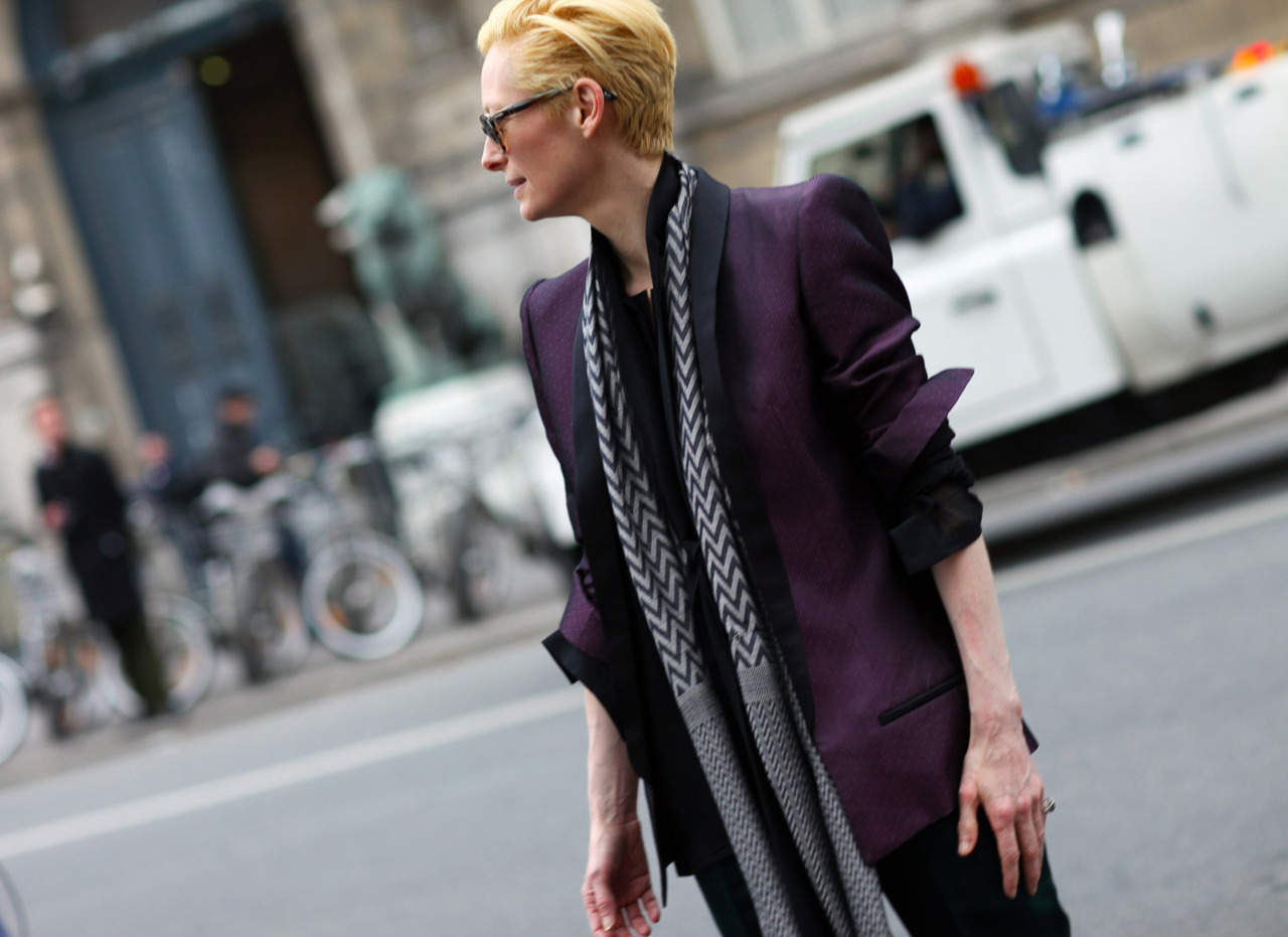 Tilda Swinton in a Haider Ackermann blazer Paris Fashion Week Streetstyle