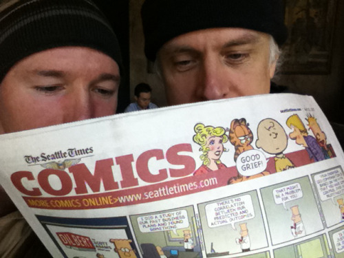 Bill Rieflin and I catching up on the comics and talking about tweeting about bowel movements.
