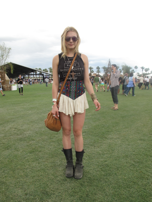 Last day of Coachella, the weather is perfect for playful summer looks. WGSN street shot