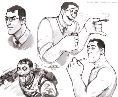 catbountry:  lintufriikki:  fuckyeahmedic:  meeeediiiiiiiccccck by ~Lintufriikki  hahhahha posted this yesterday on dA and it's already here… ok  But of course. Bitches love shirtless Medic.  Oh Lintu, can I just keep you forever?