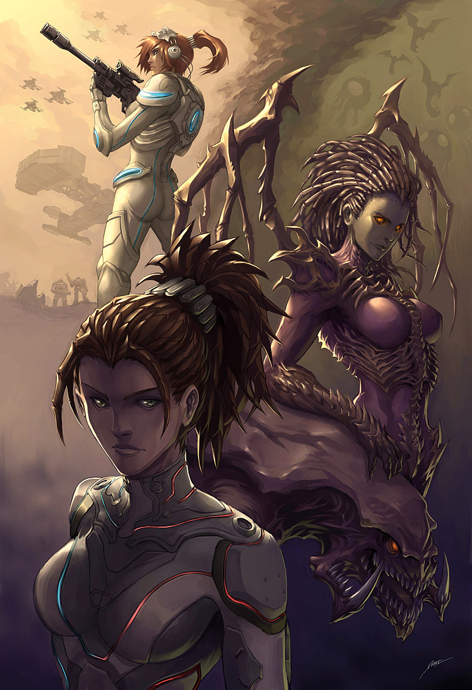 quirkilicious:  Kerrigan by *Kuroi-Tsuki Zerglingrushkekekekeke Srsly though, it was fun. Thinking about using puke-green more.  I remember her descent into madness.