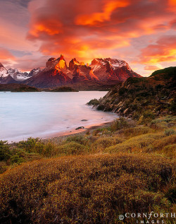 Lago Pehoe Fire Sunrise 2 by Cornforth Images on Flickr.