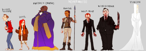 this is how I imagined everyone in Neverwhere (click for hi-res tumblr sucks at resizing) I haven't seen anyone else's fanart or double-checked any of the descriptions in the book since I finished reading last month, so they all might be totally off haha. I basically kept seeing Richard as a scottish Arthur Darvill fun fact Simon Pegg and Nick Frost have shown up as characters for me in every Gaiman novel I've read so far, I don't know what my mind is doing