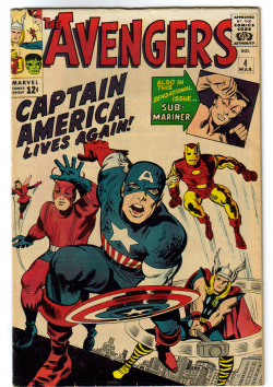 Cover of Avengers #4, where Captain America joins the Avengers. March, 1964. Art by Jack Kirby.
