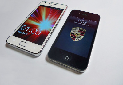 White Samsung Galaxy S II & iPhone