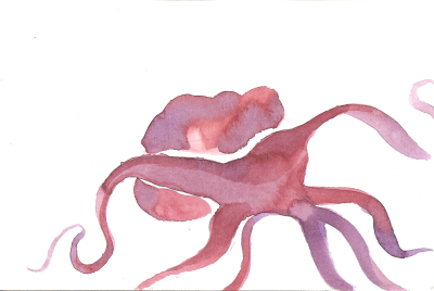 "runaway octopus : watercolors: 6"" x 4"""