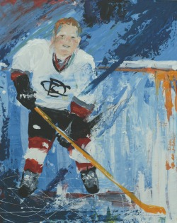 Paul painted in the style of Leroy Neiman (one of my all time favorite painters).  Paul's mom originally wanted me to do a 'master reproduction' portrait with Paul's face but we had an extremely hard time picking a portrait.  We finally decided that since Paul loves sports and the high energy style of Neiman fit Paul I would just paint from one of Paul's hockey photos and do my best to 'paint like Neiman' - SO FUN!!!!