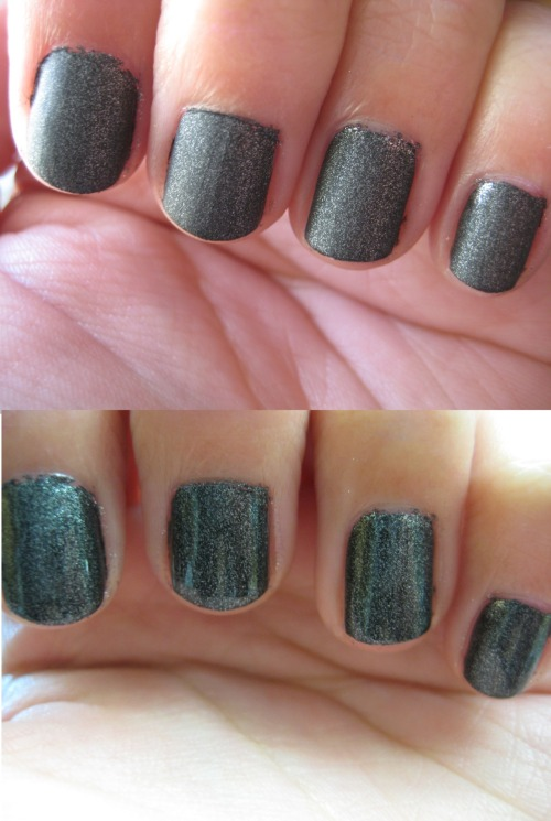 boomitsquynh:  China Glaze Stone Cold.  Top picture was its original matte finish, but I decided to just put regular top coat over it.