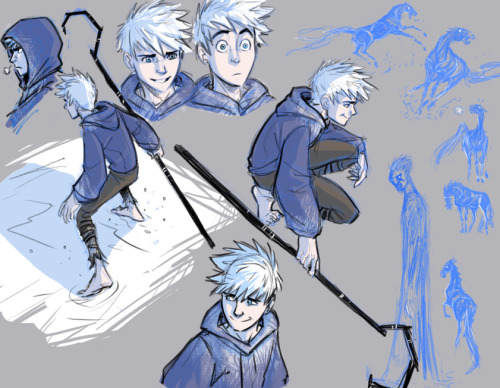 miss-evening:  rufftoon:  Jack Frost- warm up doodles That sounds like an oxymoron: Frost-Warm up doodles. Some are actually reworks of old doodles I didn't like anymore. Can be good practice to go over old stuff. Pitch sneaked up in there.  …I think I'm in love with the way Rufftoon draws Jack. Seriously… she really manages to capture his youthful and mischievous personality so well! <3