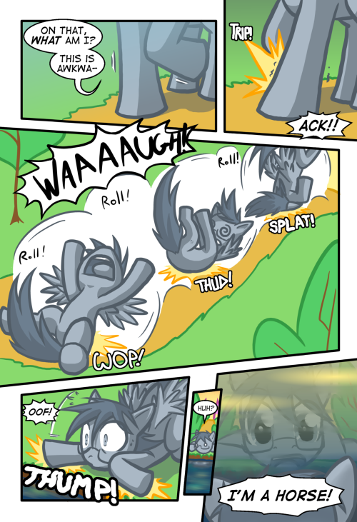 Second page of Lonely Hooves, wherin he falls down a hill.  Oh my!  Action packed narrative we have going here, isn't it? This has been ready for a while, but it needed the onomatopoeia treatment.  I have laid such upon it and now it sees the light of day.  O: I'll probably be a while before the third page, as I need to start prepping for Stumptown at the end of the month.  @w@