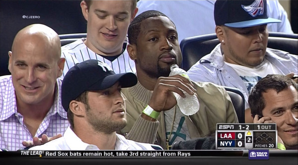 nbaoffseason:   #Yankees #Angels - Tim Tebow and Dwyane Wade sitting on row apart at Yankee Stadiumtwitpic.com  Yankees, Tebow, Heat, all predicated by the Mayan calendar.