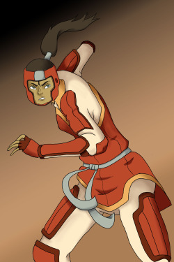 Avatar Korra from Legend of Korra fighting with the Fire Ferrets.