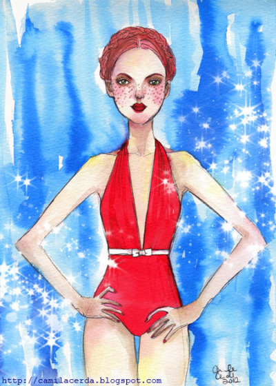 *Redhair* Miu Miu bow-embellished halterneck swimsuit Watercolor, ink pen, digital edition