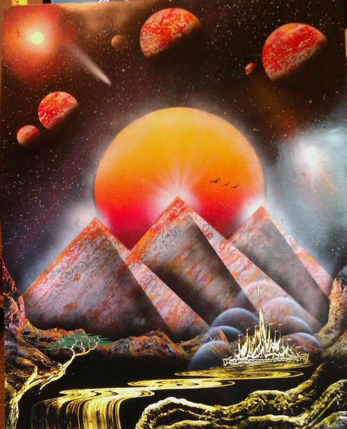 "Illuminati Sunset. 22"" x 28"" Spray Paint Art."
