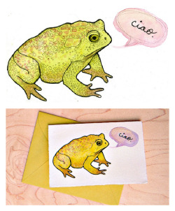 "Toad saying ""Ciao"" Ciao, watercolor & graphite on Rives BFK, 8 x 5.5"", 2012. Blogged about here."