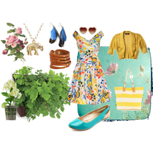 Garden Party by raccoonhatgirl featuring patent shoesVivienne Westwood Anglomania v neck dress, $450Bolero top, $50Patent shoes, $20Wallis yellow bag, $49Linea Pelle Collection cuff jewelry, $55J Crew brass jewelry, $35Feather jewelry, €26Monki retro shades, €10Miguel and Rodney Nelson Wally Pocket Living Wall System, $40Mini Hydrangea in Rattan Basket, $29Meadow 8 x 8 Print, £20