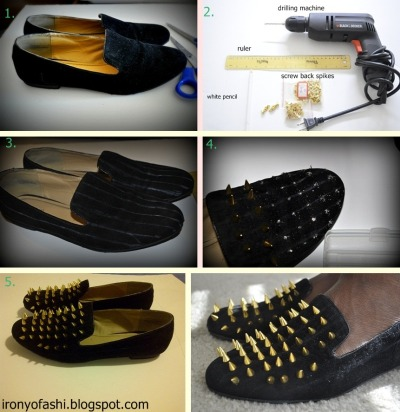 blackfashion:  can't get the spiked loafers? make them yourself for a way cheaper price