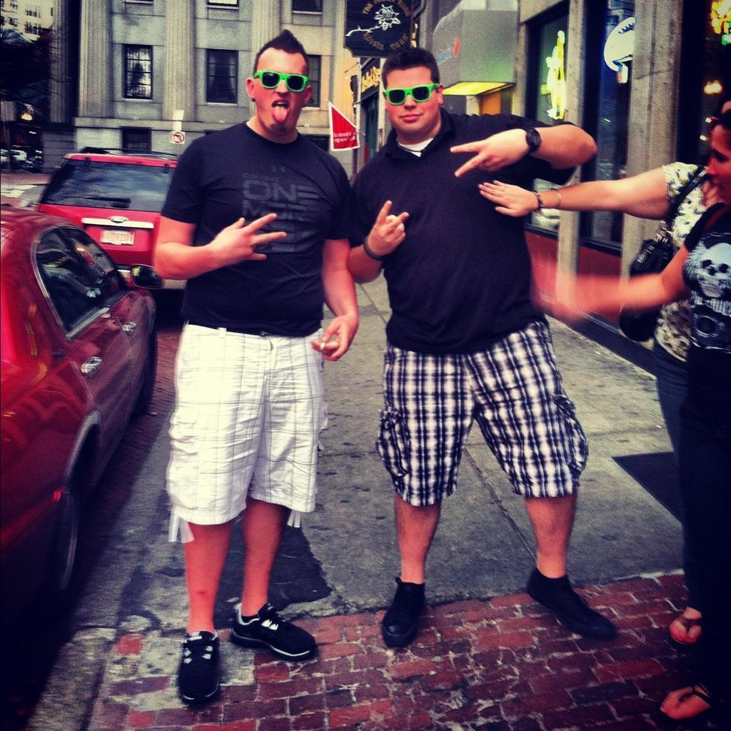 """Douche City"" had an absolute blast around town today, lunch in the North End, drinks on the waterfront, walked over to Quincy Market, did some shopping (obviously, check out them gangsta shades haha) then ended up getting pretty tipsy at Sissy K's. got some smuggled Cuban cigars as a gift from one of our friends, awesome cap off to the weekend (by the way, there is a HUGE difference, this trade embargo needs to end lol) obviously, this picture is from the ""Sissy K's"" part."