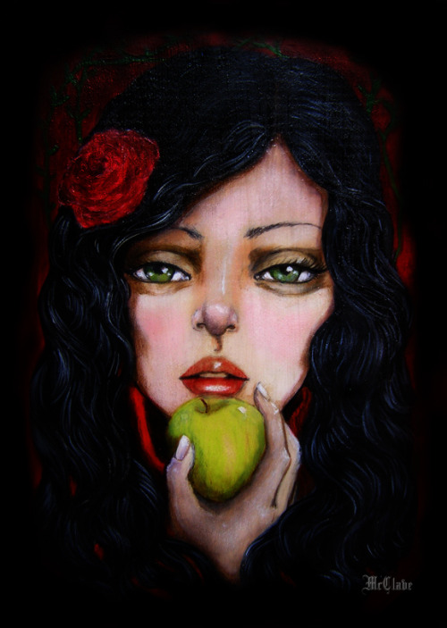 artforadults:  Envy by laurie mcclave acrylic on wood