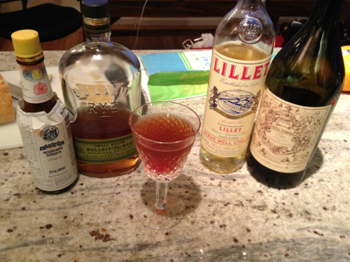 "A Perfectly European Manhattan. My normal Manhattan is made with 2oz rye,  1 oz. sweet vermouth, and a dash of Angostura bitters. A ""Perfect"" Manhattan replaces the ounce of sweet vermouth with half an ounce of sweet vermouth and half an ounce of dry vermouth. I ran out of dry vermouth, so I snuck in some Lillet Blanc. It turned out just ""perfect."""