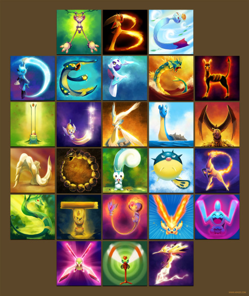 simplypokemon:  cynda-quilava:  The Pokemon Alphabet by =arkeis-pokemon  haha nice