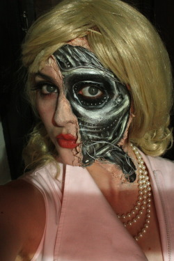Cyborg Makeup (liquid latex, face paint, string, spray paint, spirit gum) 2012