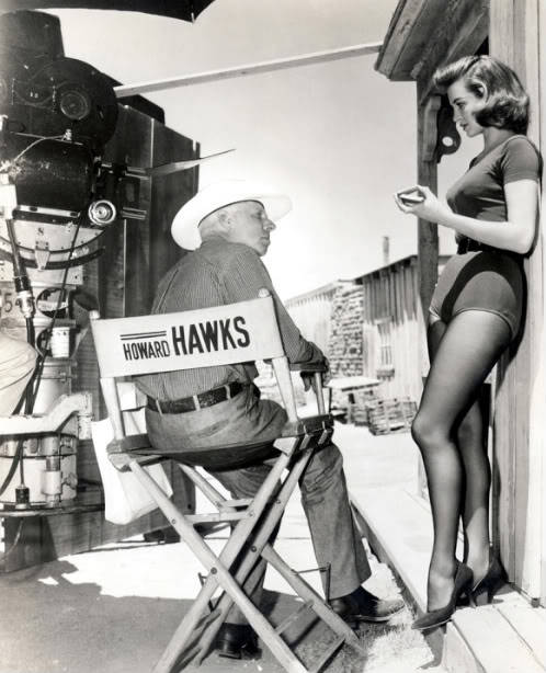 Howard Hawks and Angie Dickinson on the set of Rio Bravo in 1959