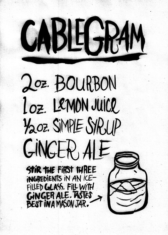 Cablegram This is a drink recipe. It's muh new fav. Available as a print and more in my Society6 shop!
