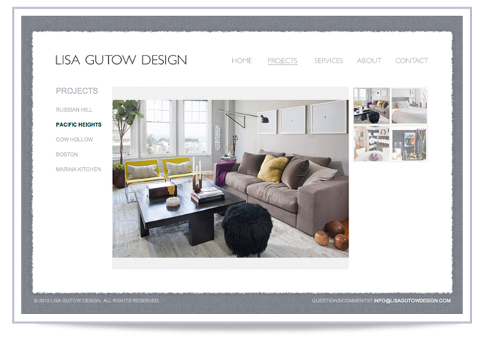 LISA GUTOW DESIGN Coding and image gallery View Website