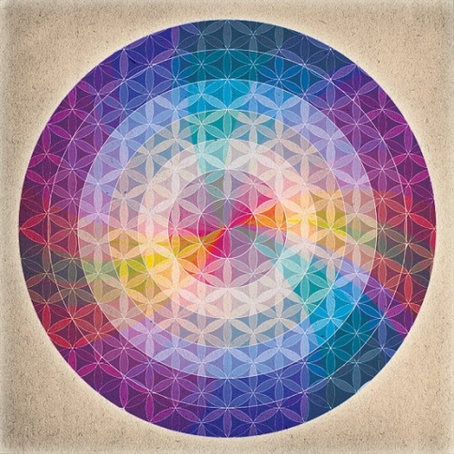 "casaatabexache:  ""Flower of Life"" Mandala Just love the mesh of chakra tones in this art print"