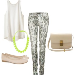 Untitled #42 by alimra featuring snakeskin pants3 1 Phillip Lim sleeveless tank top, $250Isabel Marant snakeskin pants, $355Repetto flat, $265Tom binns jewelry, $625