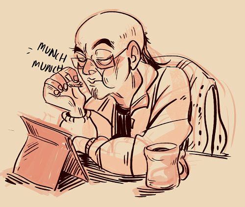 my dad saw me drawing my character's dad and i think he got jealousbecause then he asked me to draw himand then he ate my chocolate bar )':