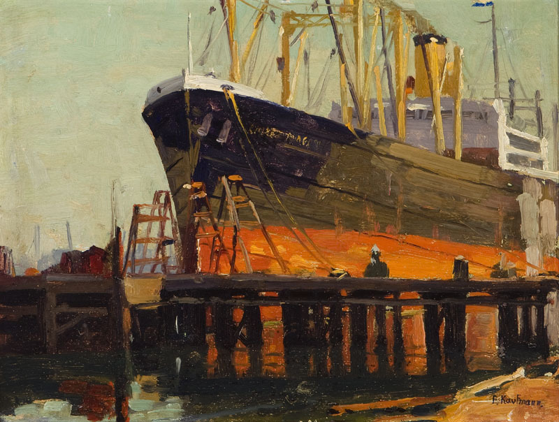 paintingbox:  Ferdinand Kauffmann (1864 - 1942). Ship in Los Angeles Harbor. Oil on Board. 11.75 x 15.75 in.