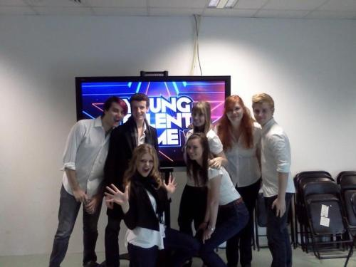 We took a photo in front of one of the televisions in the green room before we performed on Young Talent Time! I'm the one with the red hair that looks awkward and these are my friends from my new choir and my old choir. I think the episode we are in will be airing this coming Friday on channel 10 at 7pm or thereabouts. We are the choir that sings during Angels. It was a really exciting gig, we got to see Damien Lieth, Tina Arena, Chucky Klapow and Dicko. But I am most excited about actually getting paid to do this.