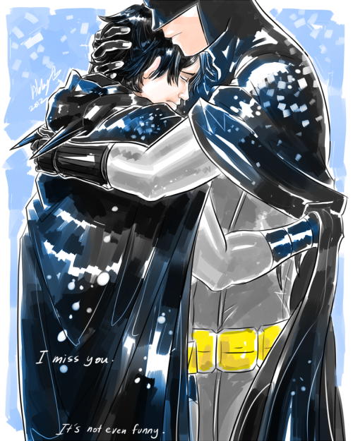 gigantusgeekus:  Richard Grayson Hugging His Father, Bruce Wayne <3 This is an artist's Homage to her Father who passed away, May He Rest in Peace :) http://colours07.deviantart.com/