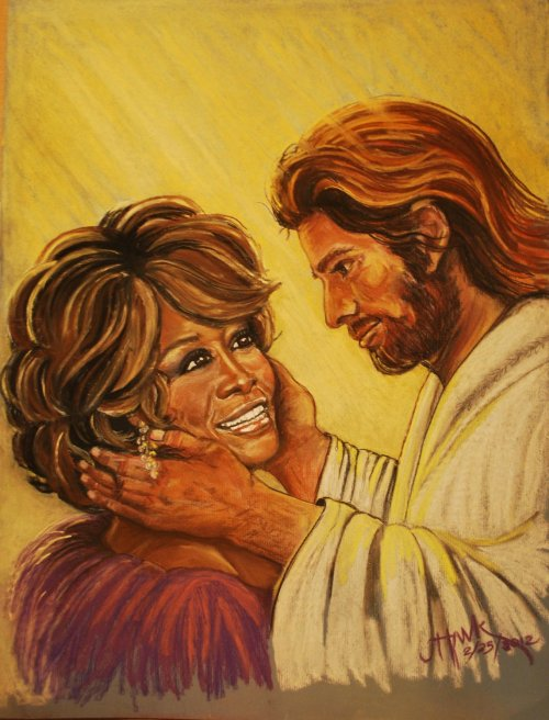 fatwafuckfest:  Jesus welcoming Whitney at the pearly gates :-)  homeless drunk harrison ford as jesus