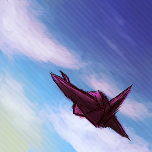 One of my pals requested me to draw a paper crane flying in the blue skyyy with clouds and stuff lols :B