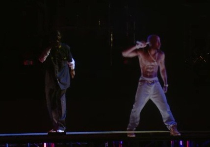 @drdre resurrects 2 Pac at Coachella 2012 using CGI animation here Pac is rockin alongside @snoopdogg for 'Ameikkaz Most Wanted'