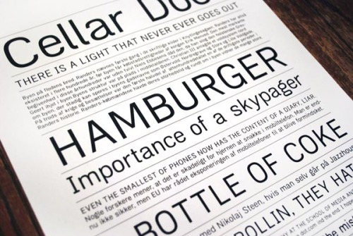 "Typeface Recommendation The 'Zimmer' typeface is a legible, simple sans serif font Julian Hansen.  ""It is in the mould of classical neo-grotesque typefaces but relatively narrow and with inspiration from early grotesque- as well as humanist typefaces. The result is a typeface that works equally well for text as it does for display.""  via: WE AND THE COLORFacebook // Twitter // Google+ // Pinterest"