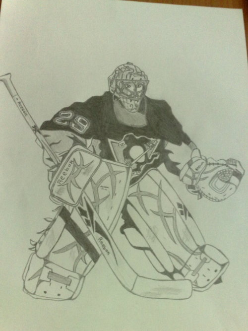 So I decided to draw Fleury yesterday. I got to support the Pens in some way.