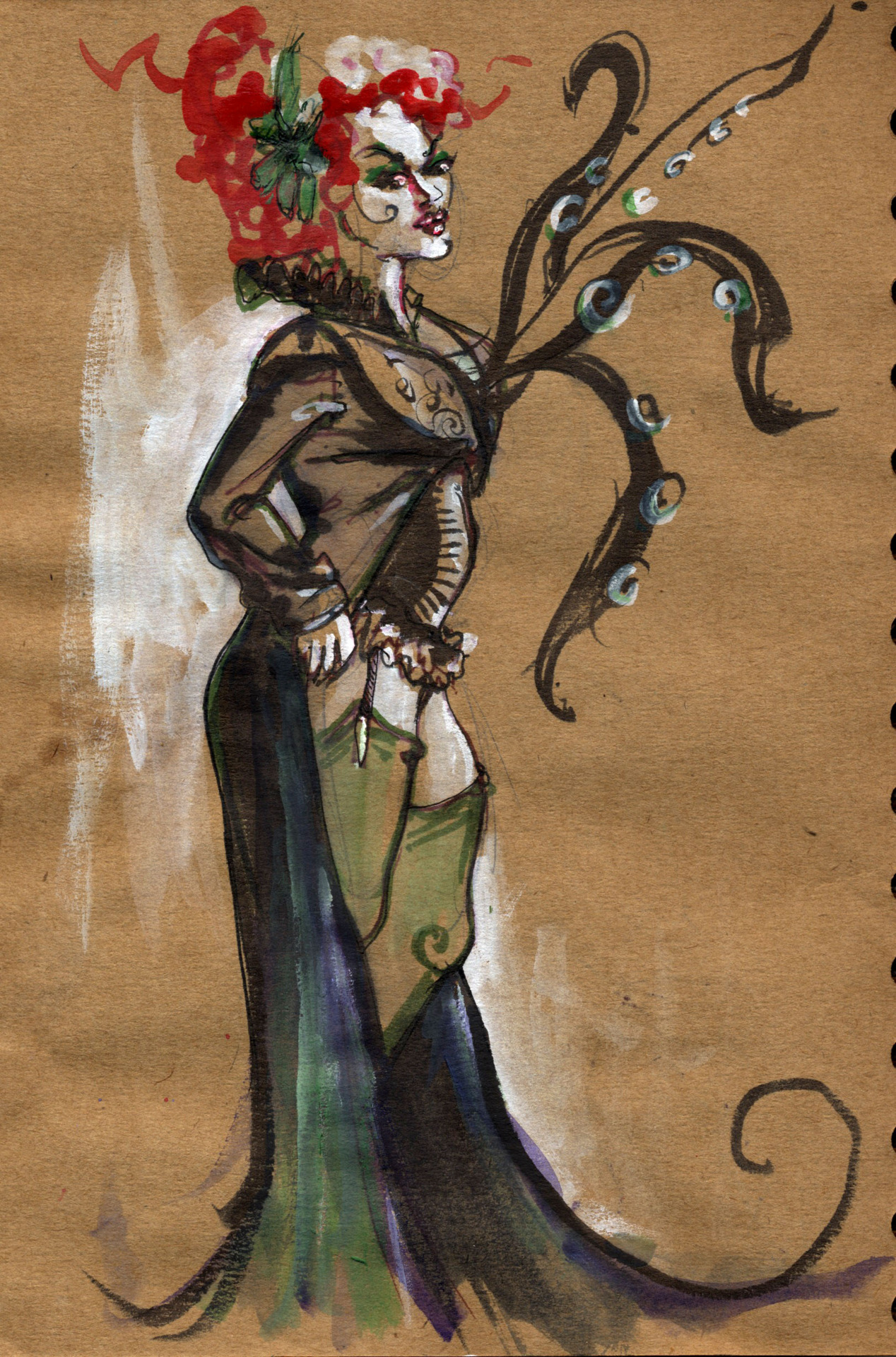 photo: I won first place at Dr. Sketchy's for this drawing :) She has a black heart, you see.