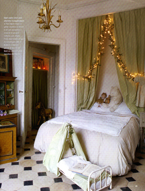 fairy bedroom with christmas lights and drapery