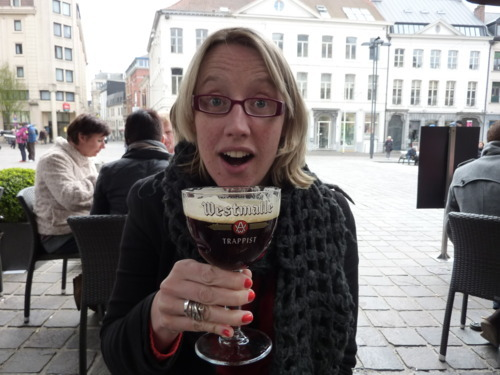 Naomi enjoys a beer in Gent